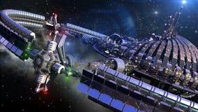 Bańczasty statek kosmiczny z grawitacyjnym kołem ilustracja wektor