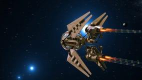 Bańczasty załogowy truteń orbituje planetarnego przedmiot royalty ilustracja