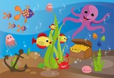 bańka kopii ryby morskie życie ilustracyjnego wodorosty są rozmieszczone tekstu wektora Obrazy Stock