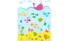 bańka kopii ryby morskie życie ilustracyjnego wodorosty są rozmieszczone tekstu wektora Obraz Royalty Free