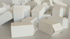 Bałagan pustego miejsca mleka kartony na betonie royalty ilustracja