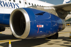 BA Airbus A319 Engine cowl. LONDON, ENGLAND - JUNE 4: View of the engine and covering cowl of a British Airways Airbus A319 on June 4 2013.  Accident Stock Image
