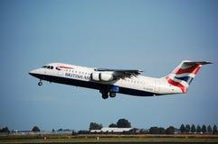 BA Avro RJ100 Imágenes de archivo libres de regalías
