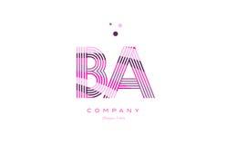 Ba b a alphabet letter logo pink purple line icon template vecto. Ba b a alphabet letter logo pink purple line font creative text dots company vector icon design Stock Images