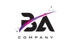 BA B A Black Letter Logo Design with Purple Magenta Swoosh. And Stars Royalty Free Stock Photos