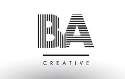 BA B A Black and White Lines Letter Logo Design. BA B A Black and White Letter Logo Design with Vertical and Horizontal Lines Royalty Free Stock Images