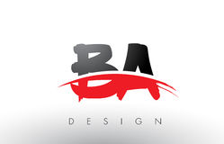 BA B A Brush Logo Letters with Red and Black Swoosh Brush Front. BA B A Brush Logo Letters Design with Red and Black Colors and Brush Letter Concept Stock Photos