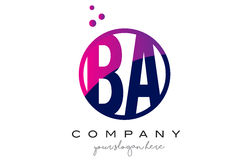 BA B A Circle Letter Logo Design with Purple Dots Bubbles. BA B A Circle Letter Logo Design with Purple Magenta Dots Bubbles Vector Illustration Royalty Free Stock Images