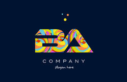 Ba b a colorful alphabet letter logo icon template vector. Ba b a alphabet letter logo colors colorful rainbow acrylic font creative text dots company vector Stock Image
