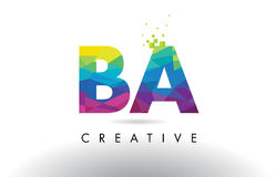 BA B A Colorful Letter Origami Triangles Design Vector. BA B A Colorful Letter Design with Creative Origami Triangles Rainbow Vector Royalty Free Stock Images