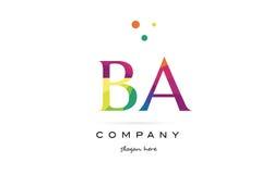 Ba b a  creative rainbow colors alphabet letter logo icon. Ba b a  creative rainbow colors colored alphabet company letter logo design vector icon template Stock Photography