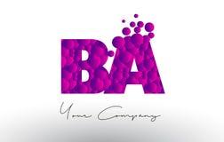 BA B A Dots Letter Logo with Purple Bubbles Texture. BA B A Dots Letter Logo with Purple Pink Magenta Bubbles Texture Vector Stock Photography