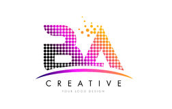 BA B A Letter Logo Design with Magenta Dots and Swoosh. BA B A Dots Letter Logo Design with Magenta Bubble Circles and Swoosh Stock Images