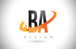 BA B A Letter Logo with Fire Flames Design and Orange Swoosh. BA B A Letter Logo Design with Fire Flames and Orange Swoosh Vector Illustration Stock Image