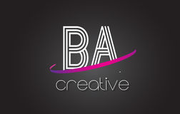 BA B A Letter Logo with Lines Design And Purple Swoosh. BA B A Letter Logo with Lines Design And Purple Swoosh Vector Letters Illustration Royalty Free Stock Photo