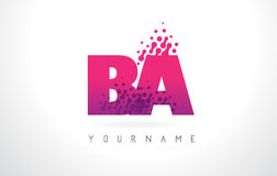 BA B A Letter Logo with Pink Purple Color and Particles Dots Des. BA B A Letter Logo with Pink Letters and Purple Color Particles Dots Design Stock Photo