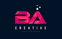 BA B A Letter Logo with Purple Low Poly Pink Triangles Concept. BA B A Purple Letter Logo Design with Low Poly Pink Triangles Concept Stock Image