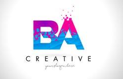 BA B A Letter Logo with Shattered Broken Blue Pink Texture Desig. BA B A Letter Logo with Broken Shattered Blue Pink Triangles Texture Design Vector Illustration Stock Images