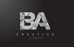 BA B A Letter Logo with Zebra Lines Texture Design Vector. BA B A Letter Logo with Zebra Lines Texture Design Vector Illustration Stock Image