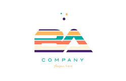 Ba b a line stripes pastel color alphabet letter logo icon templ. Ba b a alphabet letter logo colors colorful line stripe font creative text dots company vector Royalty Free Stock Photography