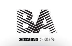 BA B A Lines Letter Design with Creative Elegant Zebra. Vector Illustration Royalty Free Stock Image