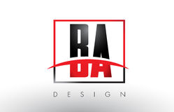 BA B A Logo Letters with Red and Black Colors and Swoosh. Creative Letter Design Vector Royalty Free Stock Photos