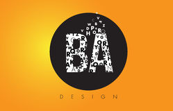 BA B A Logo Made of Small Letters with Black Circle and Yellow B. BA B A Logo Design Made of Small Letters with Black Circle and Yellow Background Stock Image