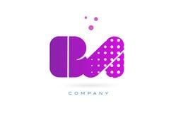 Ba b a pink dots letter logo alphabet icon. Ba b a pink dots dotted letter logo alphabet creative company vector icon design template Royalty Free Stock Photo