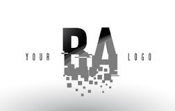 BA B A Pixel Letter Logo with Digital Shattered Black Squares. Creative Letters Vector Illustration Royalty Free Stock Image