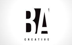 BA B A White Letter Logo Design with Black Square. BA B A White Letter Logo Design with Black Square Vector Illustration Template Stock Photo