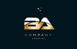 Ba b a  white yellow gold golden luxury alphabet letter logo ico. Ba b a  white yellow gold golden metal metallic luxury alphabet company letter logo design Stock Image