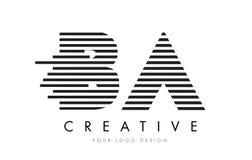 BA B A Zebra Letter Logo Design with Black and White Stripes. Vector Stock Photos