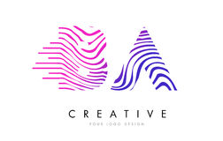 BA B A Zebra Lines Letter Logo Design with Magenta Colors. BA B A Zebra Letter Logo Design with Black and White Stripes Vector Royalty Free Stock Photo
