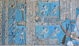 Ba-Bird. Magnificent painted reliefs of the ancient egyptian ba-bird which was a manifestation of the soul of the dead from the ancient Egyptian  temple of the Stock Photos