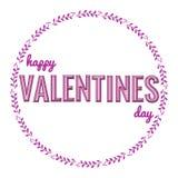 Ba, das meine Valentinsgrußtypographiephrase mit Handgezogenen Herzen in den Blättern einkreisen stock abbildung