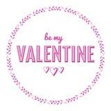 Ba, das meine Valentinsgrußtypographiephrase mit Handgezogenen Herzen in den Blättern einkreisen lizenzfreie abbildung