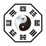 Ba Gua. Eight diagrams of Taoist cosmology with the Yin Yang inside Stock Photo