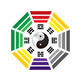 Ba Gua: variant. Eight diagrams of Taoist cosmology with the Yin Yang inside Stock Photo