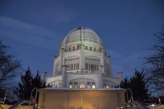 Ba ` hai寺庙在日落期间的Wilmette 免版税图库摄影