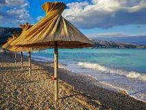 The Empty BaÅ¡ka Beach. Baška beach Croatia Spring royalty free stock images