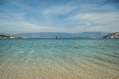 Baška, the island of Krk. Clear sea, clean sandy beach, pure paradise. Location: Croatia, south east part of island of Krk Stock Image