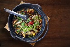 Ba Ku Teh, Malaysian Herbal Cuisine of Pork Soup. Delicious and. Healthy Cuisine Gourmet on the Wood Table. Cliping Path Added Stock Images