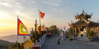 从Ba Na小山,岘港市越南2017年2月的好的山风景日落视图 免版税库存图片
