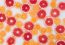 Ba?o de la leche con las rebanadas del pomelo y de las naranjas Visi?n superior Endecha plana foto de archivo