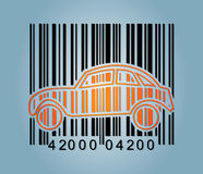 Ba-rcode and abstract car icon Royalty Free Stock Images