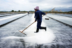 Saltworker gather white grain of salt in pile at s Stock Photo