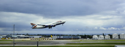 BA 747 taking off stock photo