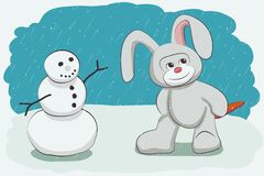 Bałwan i królik ilustracja wektor