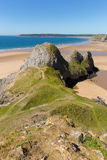 Baía de três penhascos Gower Wales Reino Unido na luz do sol do verão Fotografia de Stock