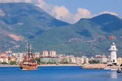 Baai dichtbij de stad Alanya. Turkije Royalty-vrije Stock Afbeelding